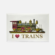I Love Trains Rectangle Magnet