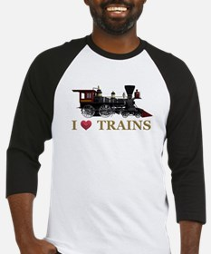I Love Trains Baseball Jersey