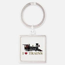 I Love Trains Square Keychain