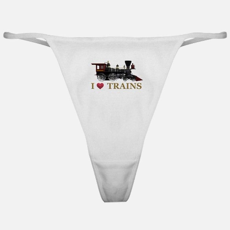 I Love Trains Classic Thong
