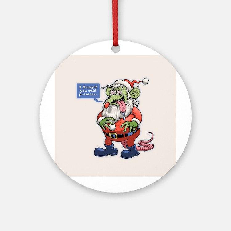Rat Claus Round Ornament