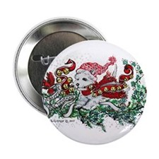 "Westie White Christmas 2.25"" Button (10 pack)"