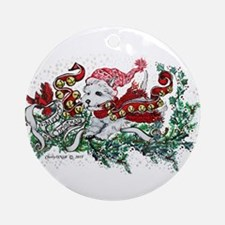 Westie White Christmas Round Ornament
