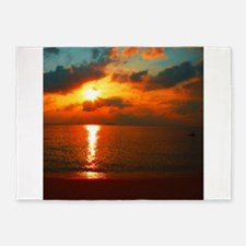 red sunrise painted with small brus 5'x7'Area Rug