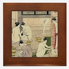 asian geisha bathhouse Framed Tile