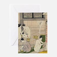 asian geisha bathhouse Greeting Cards