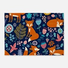 Cute Red Foxes & Colorful Retro Flo 5'x7'Area Rug