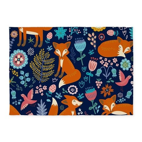 Cute Red Foxes U0026 Colorful Retro Flo 5u0027x7u0027Area Rug