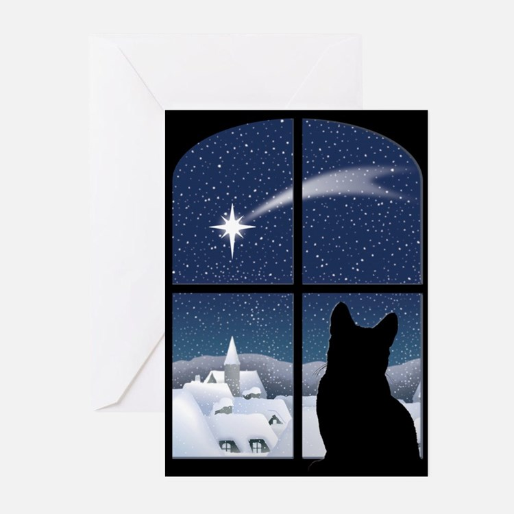 Cute Black cat christmas Greeting Cards (Pk of 20)