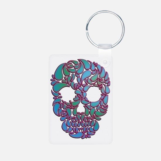 Teardrop Candy Skull In Blue, Green And Keychains