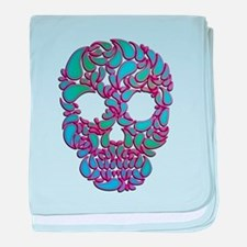 Teardrop Candy Skull In Blue, Green and Pink baby