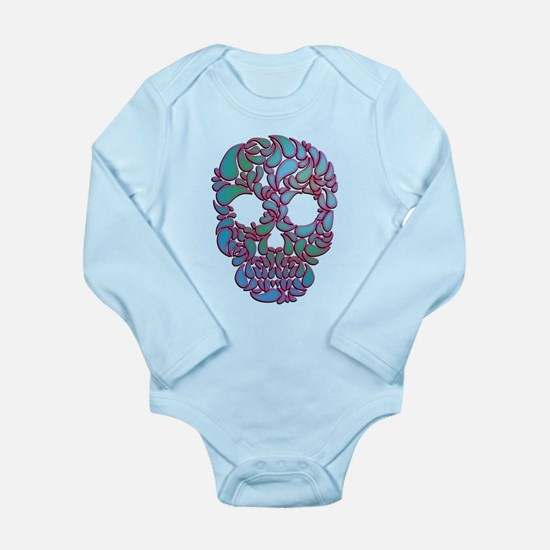 Teardrop Candy Skull In Blue, Green and Pink Body
