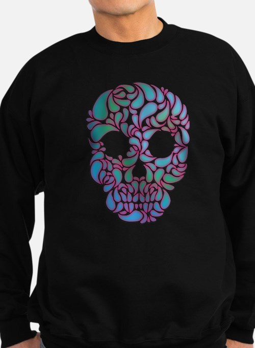 Teardrop Candy Skull In Blue, Green and Pink Sweat