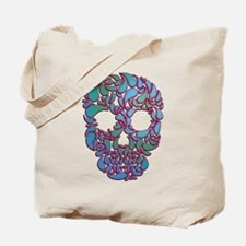 Teardrop Candy Skull In Blue, Green and Pink Tote