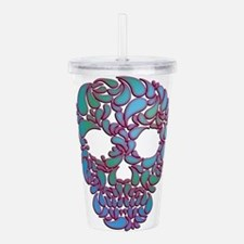 Teardrop Candy Skull In Blue, Green and Pink Acryl