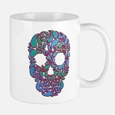 Teardrop Candy Skull In Blue, Green and Pink Mugs