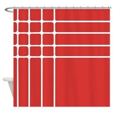 Red and White Striped Shower Curtain