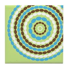 Blue & Brown Mod Tile Drink Coaster