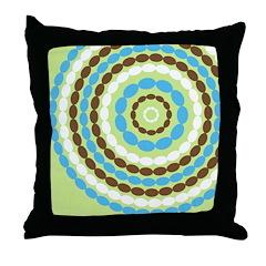 Blue & Brown Mod Throw Pillow
