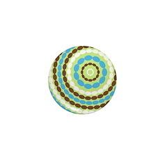 Blue & Brown Mod Mini Button