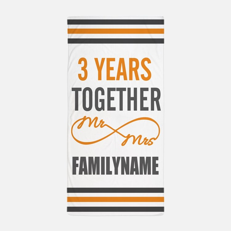 3rd Anniversary Personalized Beach Towel