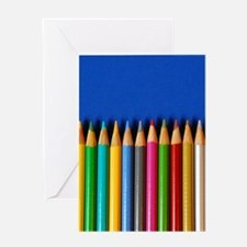 Colorful pencil crayons Greeting Cards