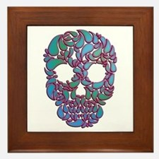 Teardrop Candy Skull In Blue, Green Framed Tile