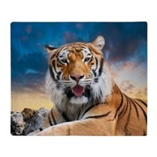 Tiger Sunset Throw Blanket