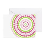 Pink & Green Mod Retro Greeting Cards (Pk of 20)