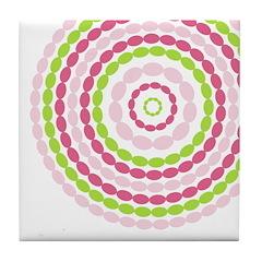 Pink & Green Mod Retro Tile Drink Coaster