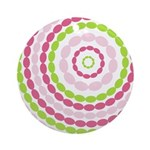 Pink & Green Mod Retro Ornament (Round)