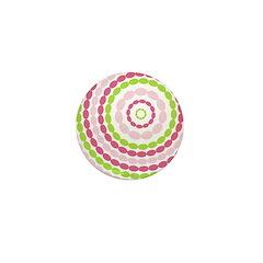 Pink & Green Mod Retro Mini Button