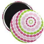 "Pink & Green Mod Retro 2.25"" Magnet (10 pack)"