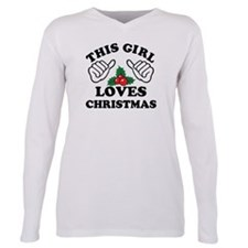Cute Girl loves christmas Plus Size Long Sleeve Tee
