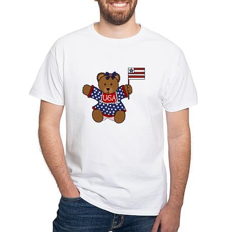 Patriotic Baby Bear White T-Shirt