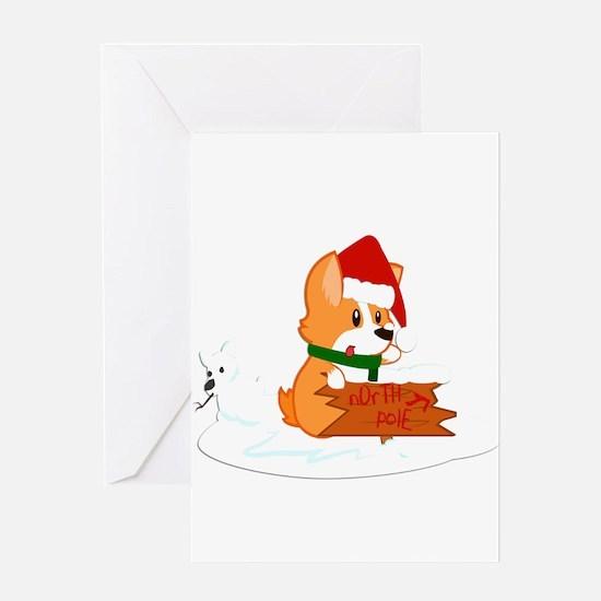 Santa Corgi Greeting Cards