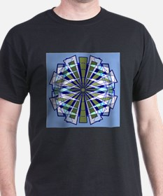 Abstract Triangle Starburst in Blue and Green T-Sh