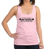 Let me know if my biceps get in your way Womens Racerback Tanktop