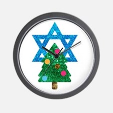 glitter christmukkah Wall Clock