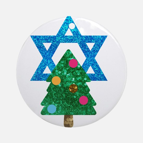 glitter christmukkah Round Ornament