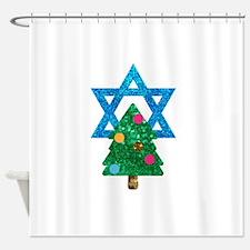 glitter christmukkah Shower Curtain