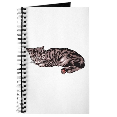 Napping Grey & Black Tabby Journal