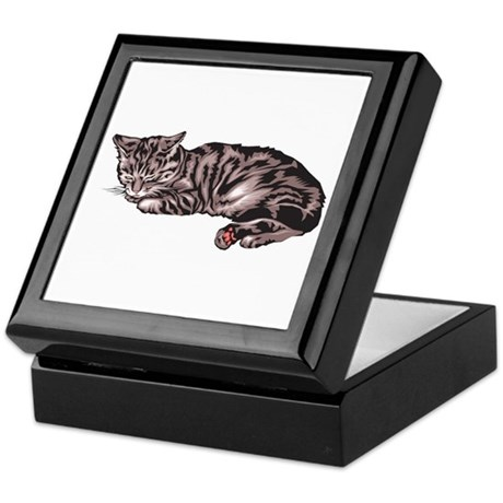 Napping Grey & Black Tabby Keepsake Box