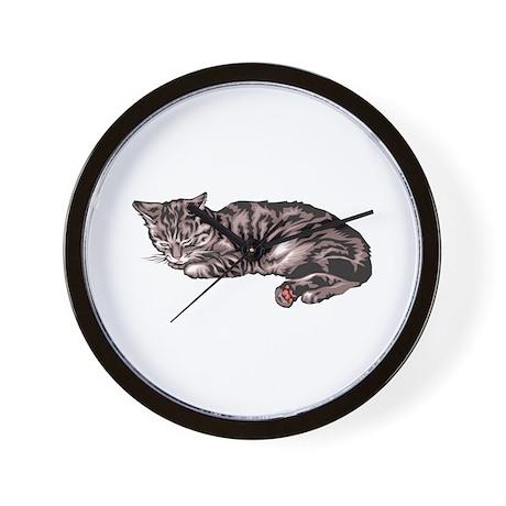 Napping Grey & Black Tabby Wall Clock
