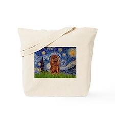 Starry Night & Ruby Cavalier Tote Bag