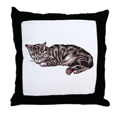Napping Grey & Black Tabby Throw Pillow