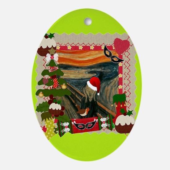 Cute Edvard munch Oval Ornament