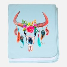 Colorful Bull Horns & Skull Flowers & baby blanket