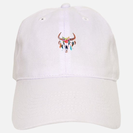 Colorful Bull Horns & Skull Flowers & Feathers Baseball Baseball Cap