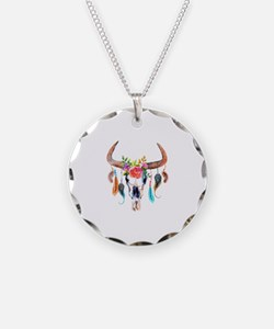 Colorful Bull Horns & Skull Necklace
